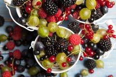 各种各样的新鲜的夏天莓果 顶视图 莓果混合果子颜色食物点心莓果 抗氧剂,戒毒所饮食,有机果子 免版税图库摄影