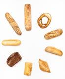 从各种各样的新鲜的面包店的圆的集合 免版税图库摄影