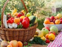 各种各样的有机水果和蔬菜 库存照片
