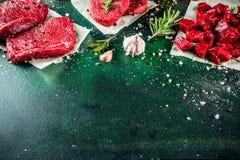 各种各样的未加工的牛肉肉用香料和草本 免版税图库摄影