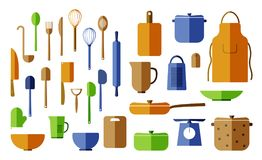 各种各样的杯子,利器,平底锅,碗,板材 库存例证