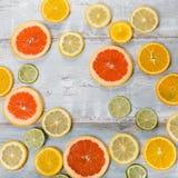 各种各样的柑橘水果框架和延命菊在白色背景,顶视图开花 库存照片