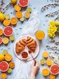 各种各样的柑橘水果用新鲜的新月形面包、果酱和汁液在浅兰的背景与春天花 库存图片
