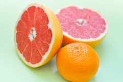 各种各样的柑橘水果:葡萄柚,橙色在绿色背景 免版税库存图片