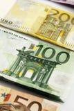 各种各样的欧洲钞票连续 库存照片
