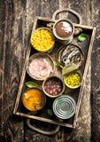 各种各样的水果罐头、菜、鱼和肉在锡罐在老盘子 免版税库存图片