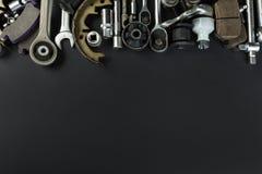 各种各样的汽车零件和工具 免版税库存图片
