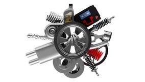 各种各样的汽车零件和辅助部件 免版税库存照片