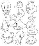 各种各样的海生动物乱画的汇集 免版税库存照片