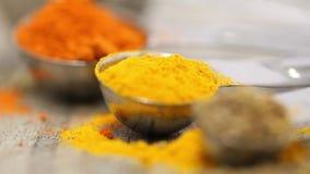 各种各样的混杂的香料牛至,姜黄,辣椒粉,在金属瓢的茴香在木桌上 股票录像