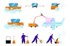 各种各样的清洗的设备和工作者 向量例证