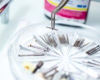 各种各样的牙髓学的标号现代机床  库存照片