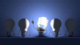 各种各样的电灯泡,洞察的片刻 免版税库存图片