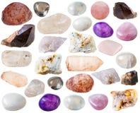 各种各样的石英矿物宝石和水晶 免版税库存图片
