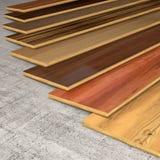各种各样的硬木板条3D翻译 免版税库存图片