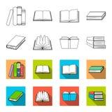 各种各样的种类书 书设置了在概述,平的样式传染媒介标志股票例证网的汇集象 图库摄影