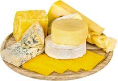 各种各样的种类在木盛肉盘的乳酪- 免版税库存照片