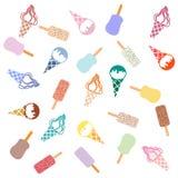 各种各样的种类的五颜六色的图片可口冰淇凌 免版税库存图片