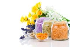 各种各样的种类与花的腌制槽用食盐 库存图片