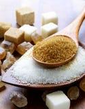 各种各样的种类糖,褐色,白色和提炼 库存照片