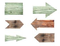 各种各样的空的木标志的汇集在白色背景的 免版税库存照片