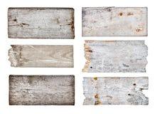 各种各样的空的木标志的汇集 图库摄影