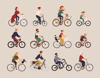各种各样的类型人乘坐的自行车的汇集-城市, bmx,杂种,砍刀,巡洋舰,唯一速度,固定的齿轮 皇族释放例证