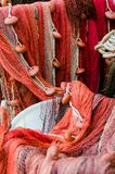 各种各样的红色捕鱼网 免版税图库摄影