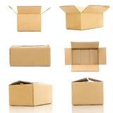 各种各样的纸板箱的汇集在白色背景的 免版税库存照片