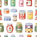 各种各样的罐子罐头食物金属容器杂货店和产品无缝的样式存贮铝的汇集 免版税库存照片