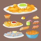 各种各样的肉点心快餐开胃菜鱼和乳酪设宴在盛肉盘传染媒介例证的快餐 免版税库存照片