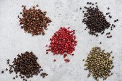 各种各样的胡椒种子,香料概念 免版税图库摄影