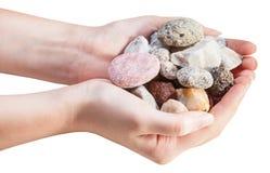 各种各样的自然小卵石侧视图在极少数的 库存图片