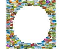 各种各样的自然照片在圆的框架安排了 库存照片