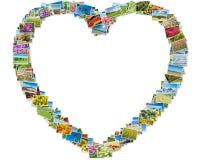 各种各样的自然照片在心脏框架安排了 免版税库存照片