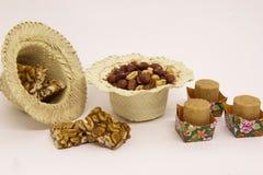 各种各样的花生甜点,典型的巴西人 传统Junina零件 库存照片