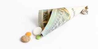 各种各样的药片, tablettes,在whte背景的胶囊 免版税库存照片