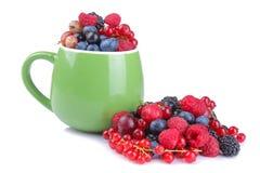 各种各样的莓果特写镜头包括蓝莓、莓、黑莓和无核小葡萄干在一个绿色杯子在白色背景 库存图片