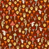 各种各样的蘑菇的传染媒介无缝的样式 库存照片