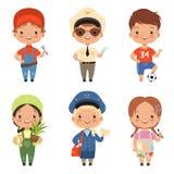 各种各样的行业滑稽的动画片儿童字符  向量例证