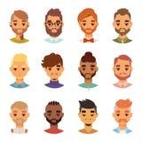 各种各样的表示有胡子的人面孔具体化时尚行家发型头人髭传染媒介例证图片