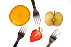 各种各样的被区分的和白色果子, appele 免版税库存照片