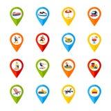 各种各样的被设置的地点标志五颜六色的象 向量例证
