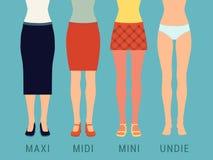 各种各样的裙子和内衣 免版税库存图片