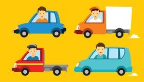 各种各样的车汽车例证平的设计 免版税库存图片