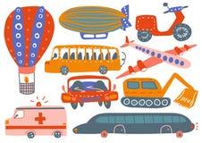 各种各样的运输车的汇集,热空气气球,飞艇,飞机,救护车汽车,挖掘机,公共汽车,摩托车 库存例证