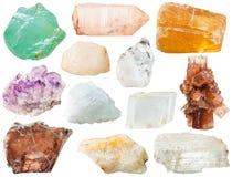 各种各样的透明矿物岩石和石头 图库摄影