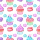 各种各样的逗人喜爱的明亮的五颜六色的蓝色,桃红色和紫色点心 在白色背景的无缝的传染媒介样式 皇族释放例证