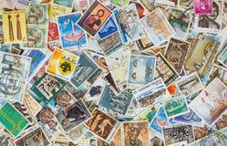 各种各样的邮票背景的汇集 免版税图库摄影