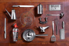 各种各样的金属厨房器物的汇集 库存照片